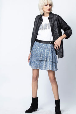 JIM BURNOUT VELVET SKIRT