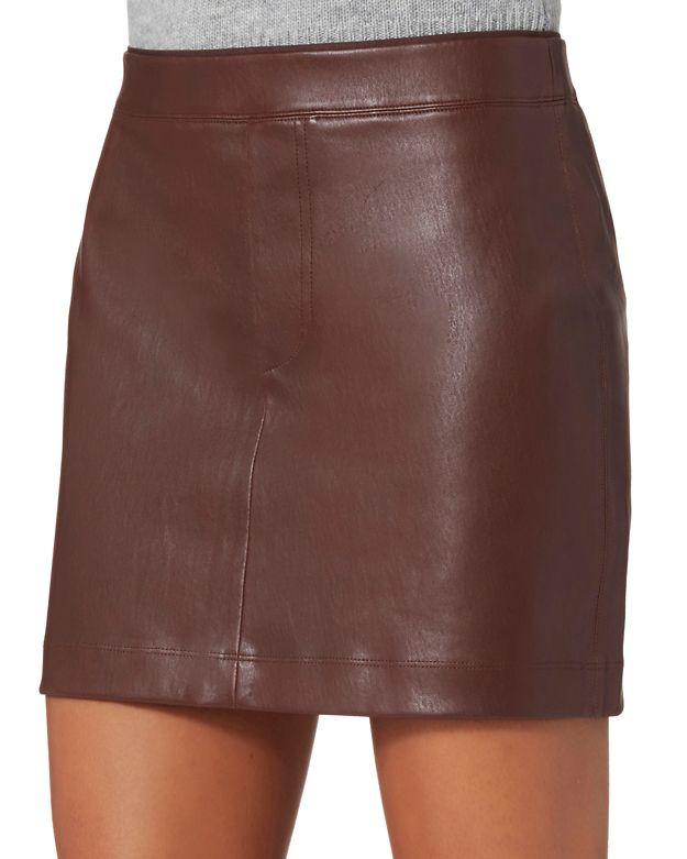 Brown Leather Mini Skirt