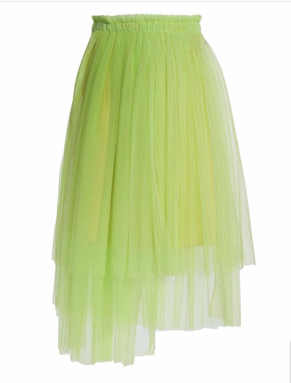Green Neon Midi Tulle Skirt