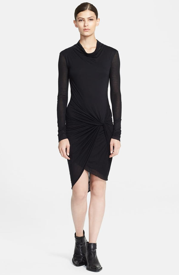 Drape Neck Twisted Jersey Dress