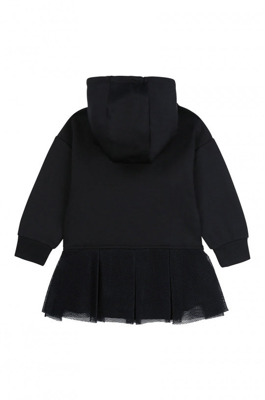 Black Neopren Long-Sleeve Hooded Dress