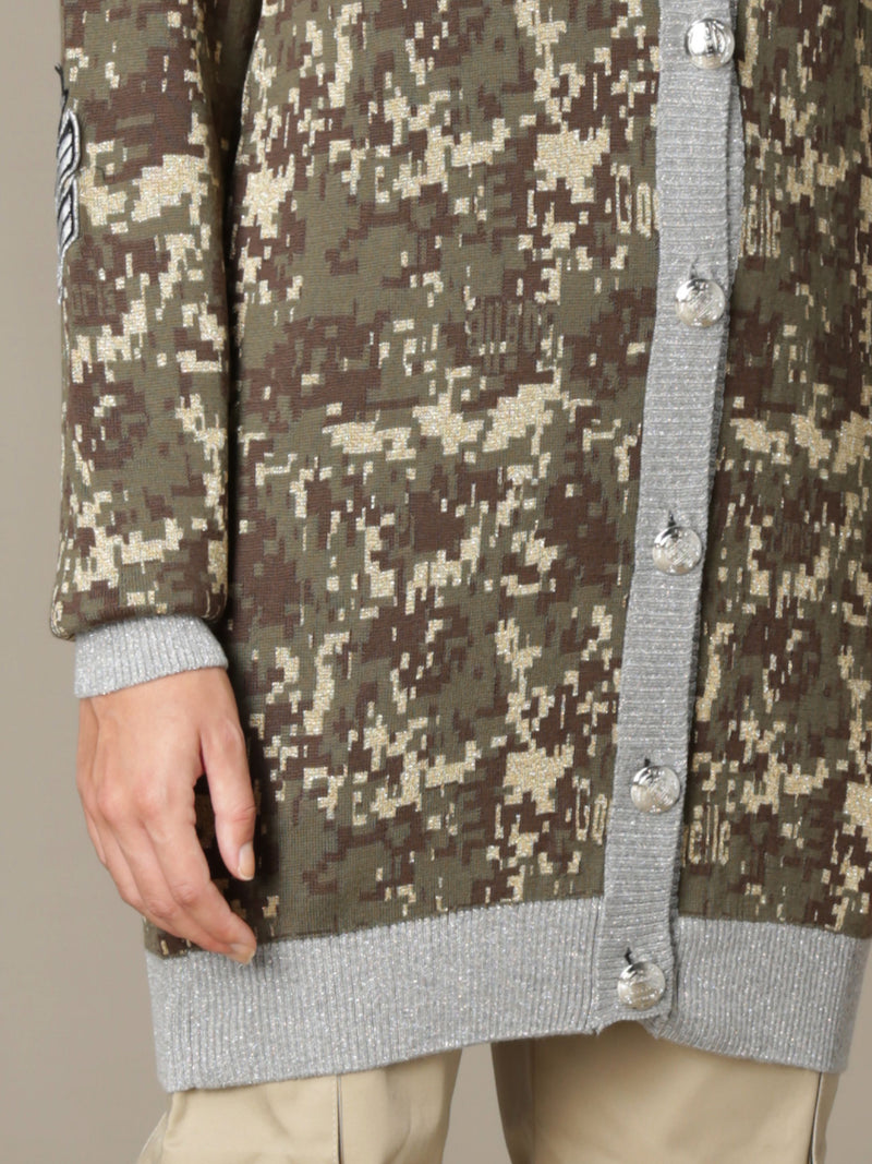 Camouflage Knit Cardigan