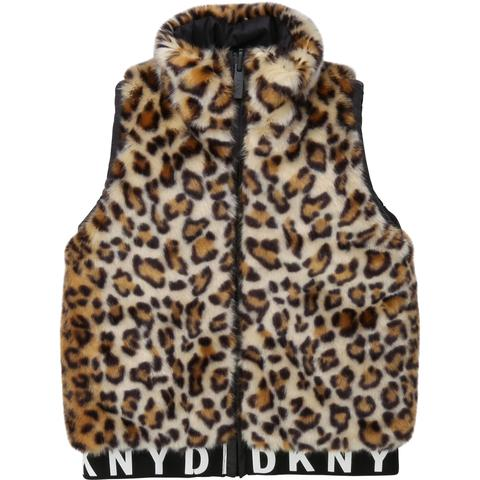 Reversible Sleeveless Leopard Jacket