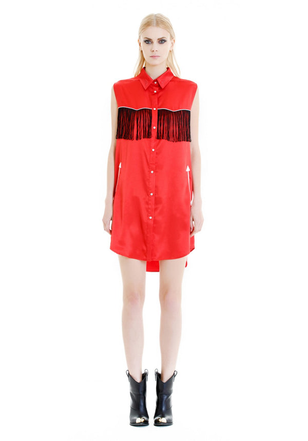 Red Shirt Fringed Dress