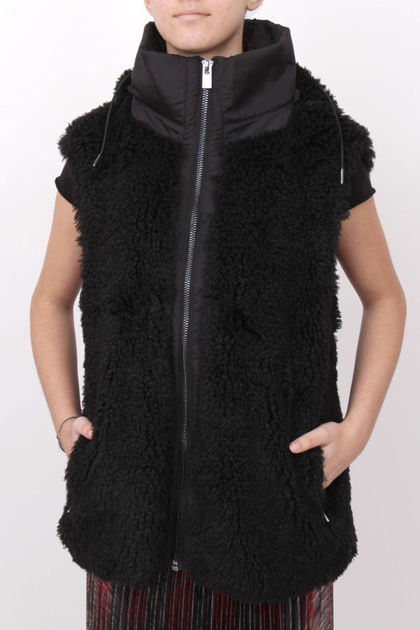 Black Fluffy Sleeveless Jacket