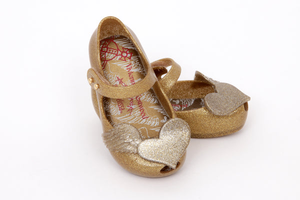 Gold Flying Heart Shoes