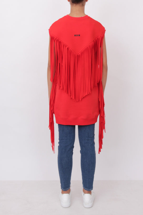 Red Frindeg Sleeveless Top