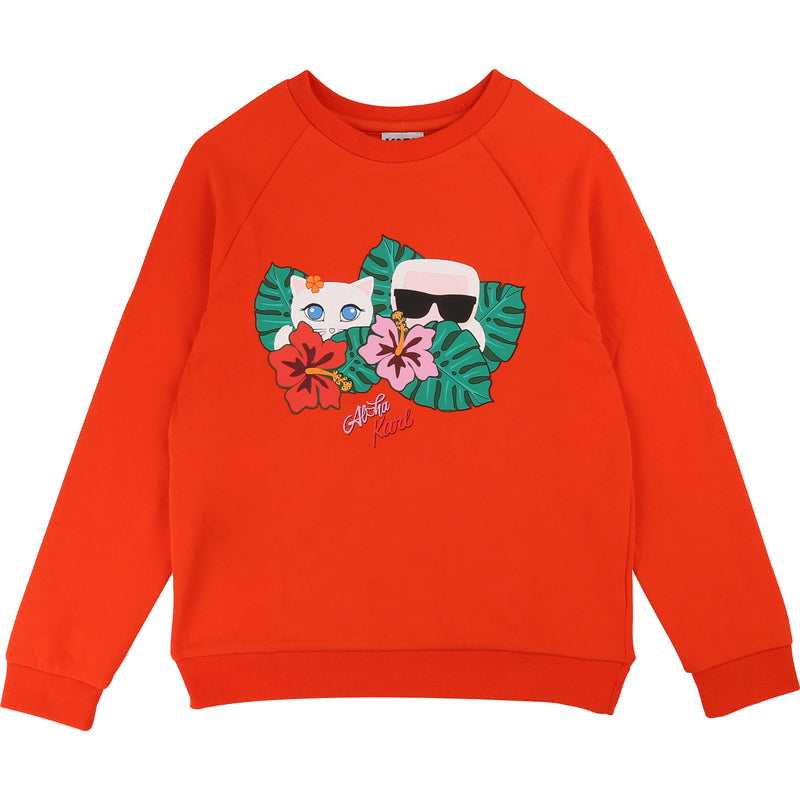Orange Print Sweatshirt