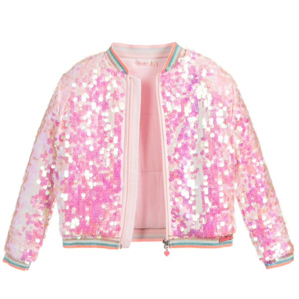 Pink Sequin Bomber Jacket
