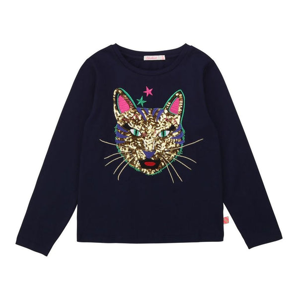 Sequins Cat Long-Sleeve T-Shirt