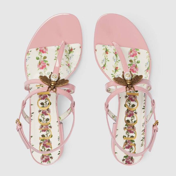 Pink Patent Leather with Bee Sandals