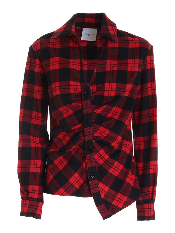 Red Checked Asymmetric Shirt
