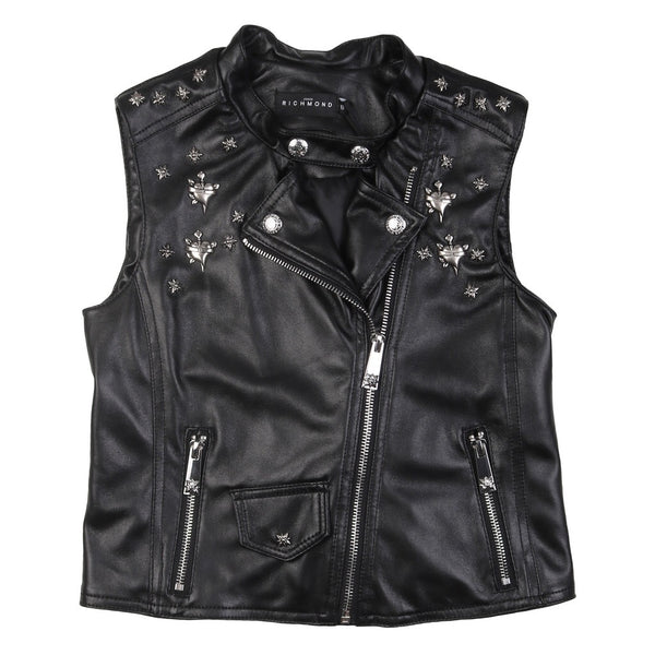 Black Leather Sleeveless Jacket