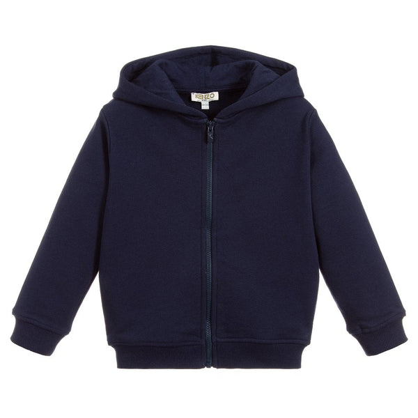 Dark Blue Zip Hooded Sweatshirt