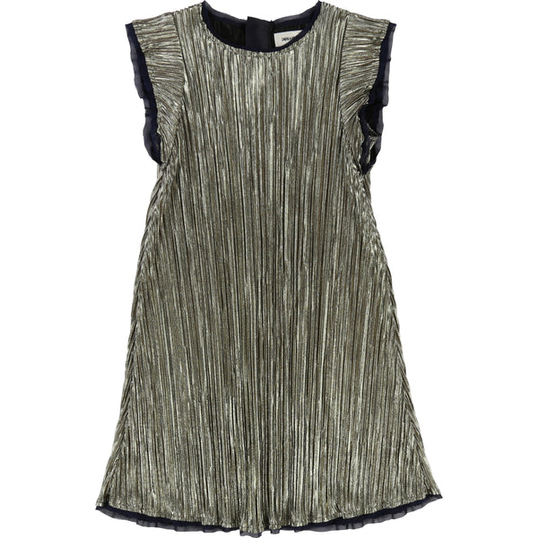 Gold Pleated Short-Sleeve Dress