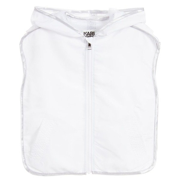 White Sleeveless Hooded Jacket