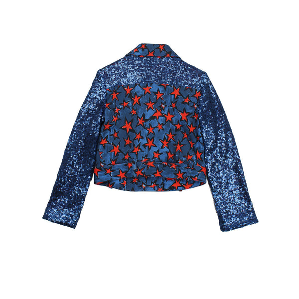 Denim Jacket with Red Stars