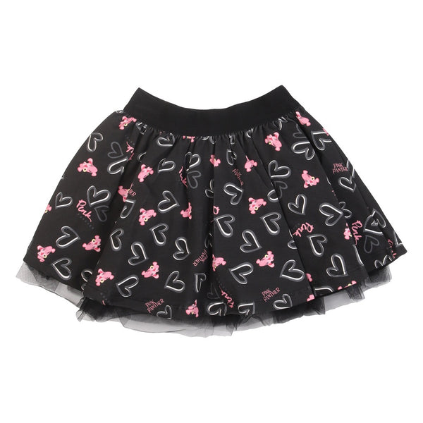 Pink Panther Print Black Skirt