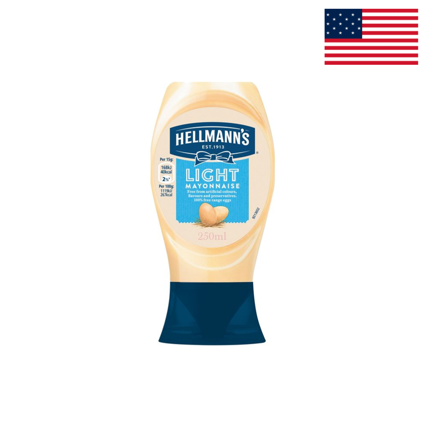 HELLMANN'S - LIGHT MAYONNAISE - SQUEEZE BOTTLE - 250 ML
