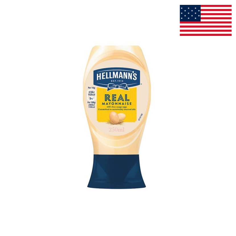 HELLMANN'S - REAL MAYONNAISE - SQUEEZE BOTTLE - 250 ML