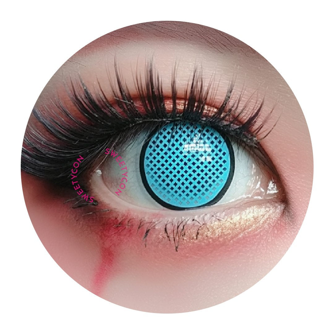 Sweety Crazy Lens - Cyan Mesh / Blue Screen with Black Rim-Crazy Contacts-UNIQSO
