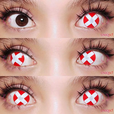 Sweety Crazy - White Cross Red Eye-Crazy Contacts-UNIQSO