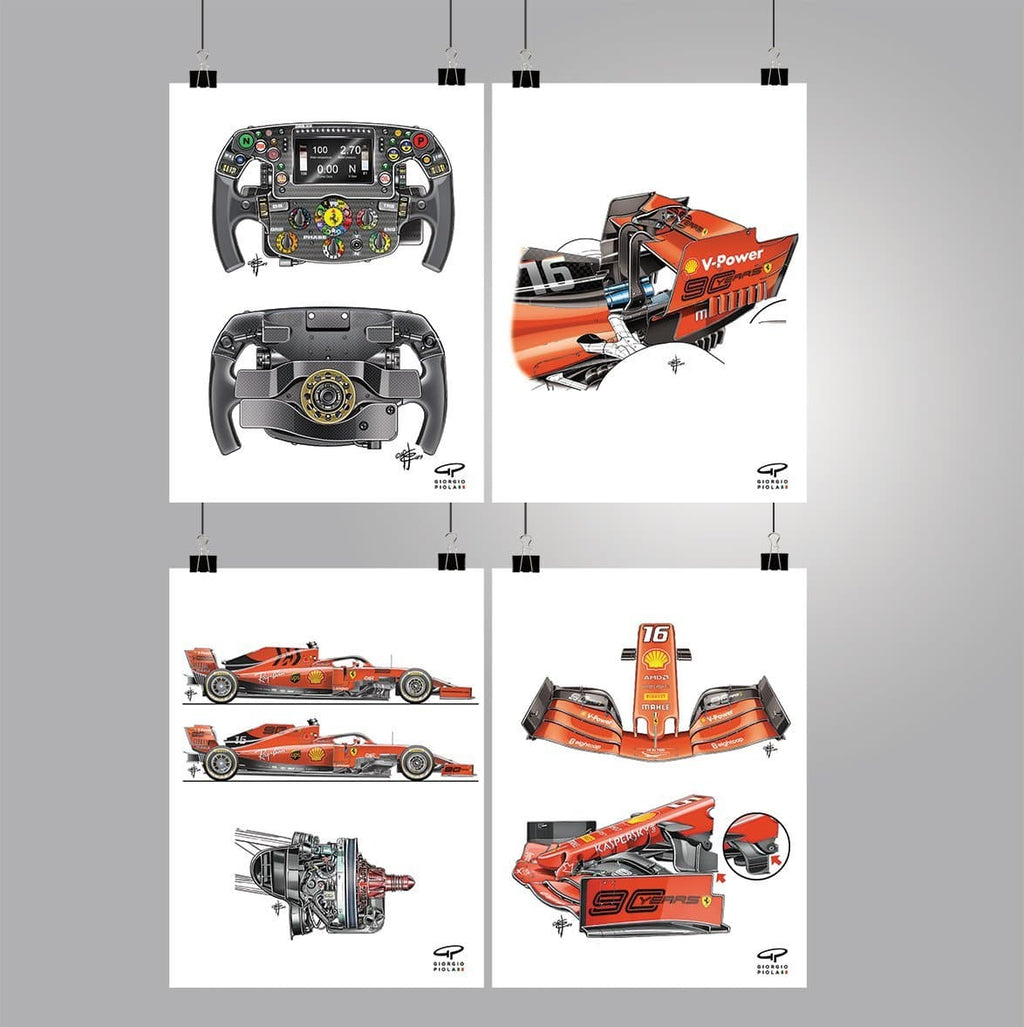 Ferrari SF90 2019 F1 Poster Collection