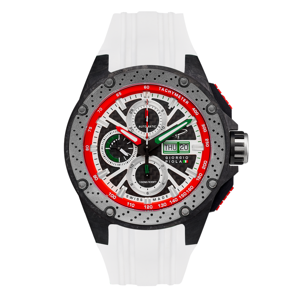 G5 - Green - White Automatic Carbon Fiber Swiss Sport Chrono Watch
