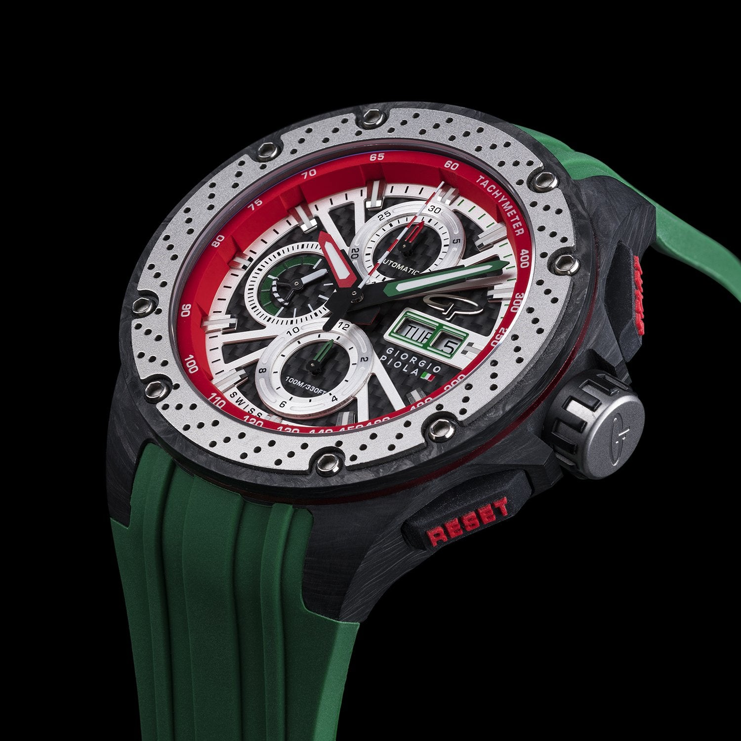 Motorsport Watches. Giorgio Piola Green Chronograph
