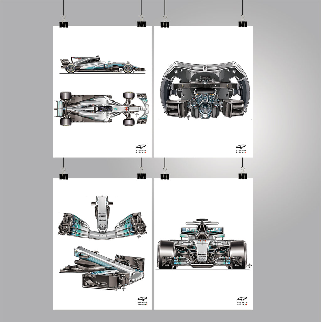 Mercedes F1W08 2017 F1 Poster Collection