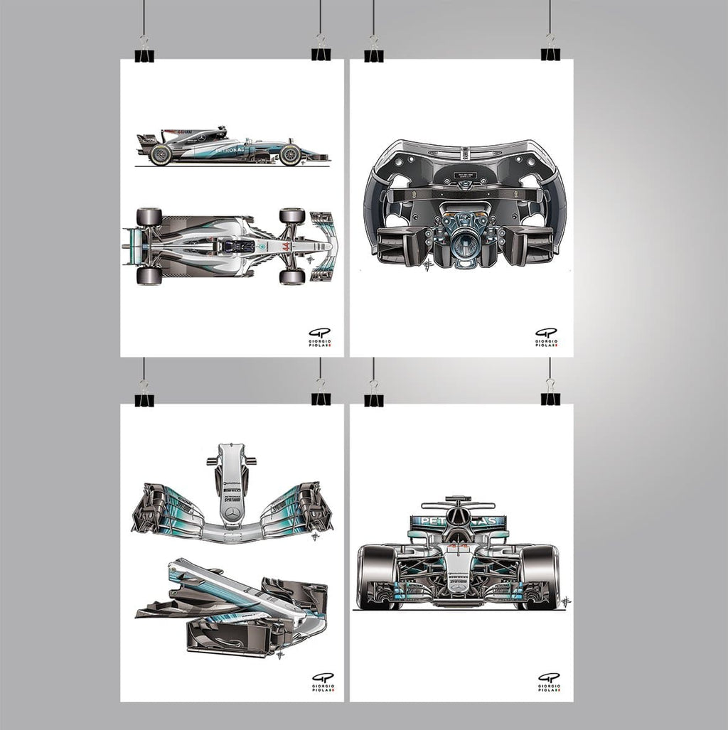 Free Mercedes F1W08 2017 F1 Poster Collection (ONLY ONE SET PER ORDER) (Just Pay Shipping And Handling)