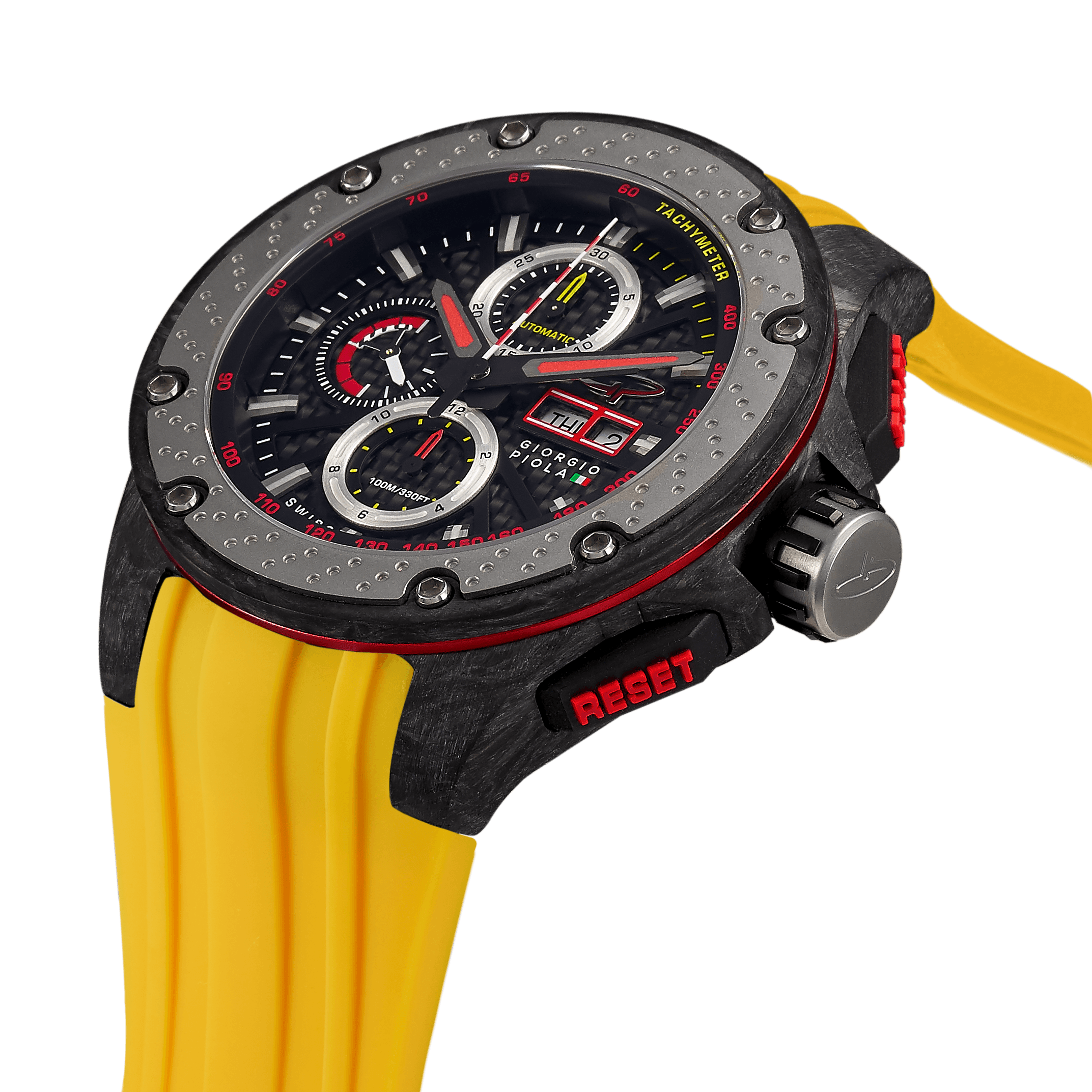 G5 - Black-Yellow Automatic Carbon Fiber Swiss Sport Chrono Watch