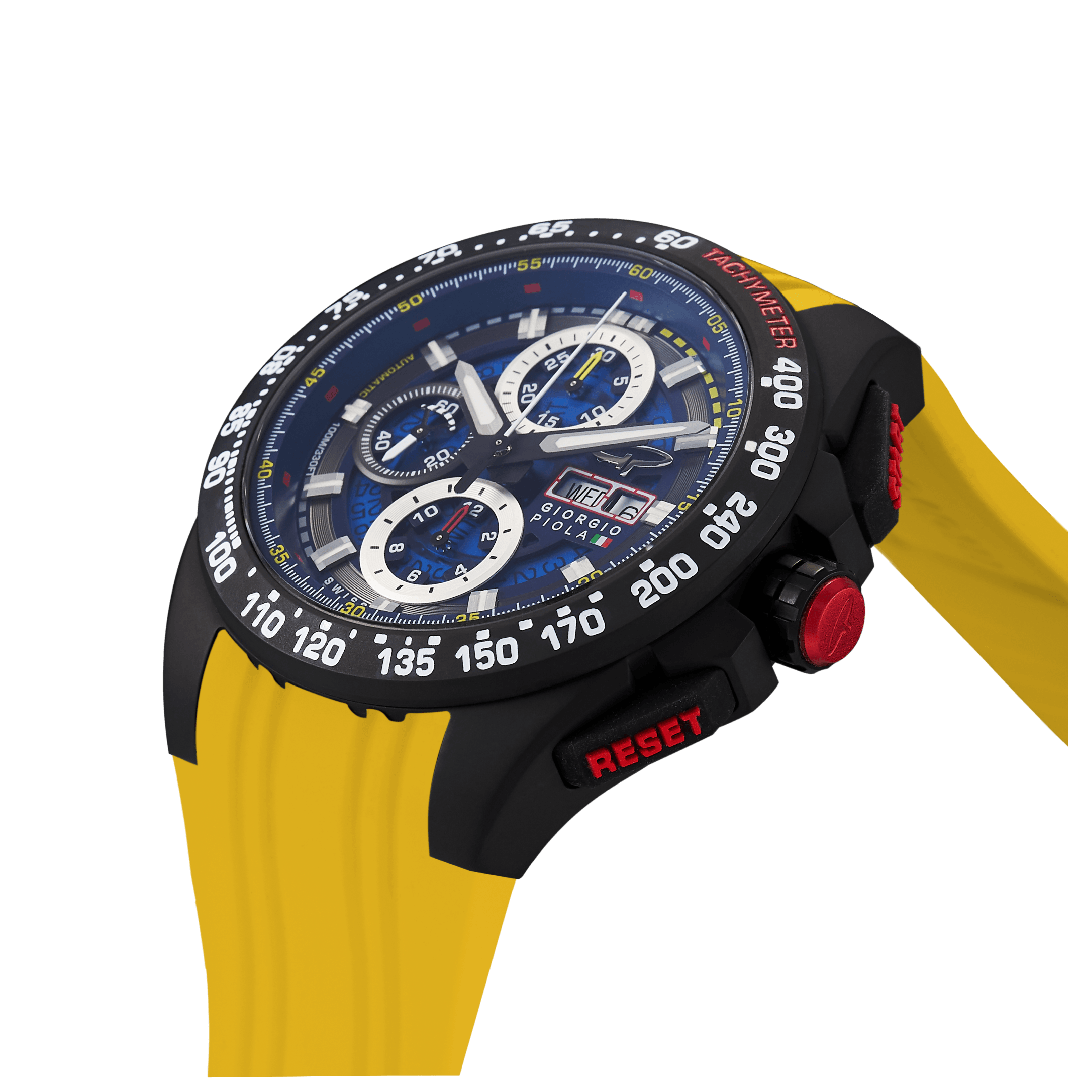 G5 Delta - Black-Yellow Automatic Titanium Swiss Sport Chrono Watch (Black PVD Coating)