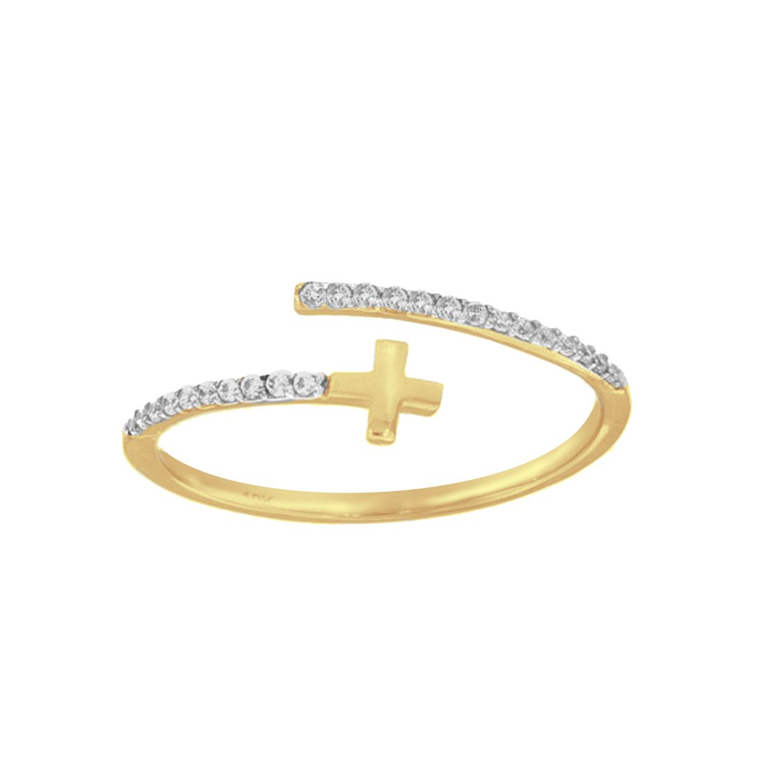 Anillo Oro 10k, con Cruz Lisa y Zirconias Laterales
