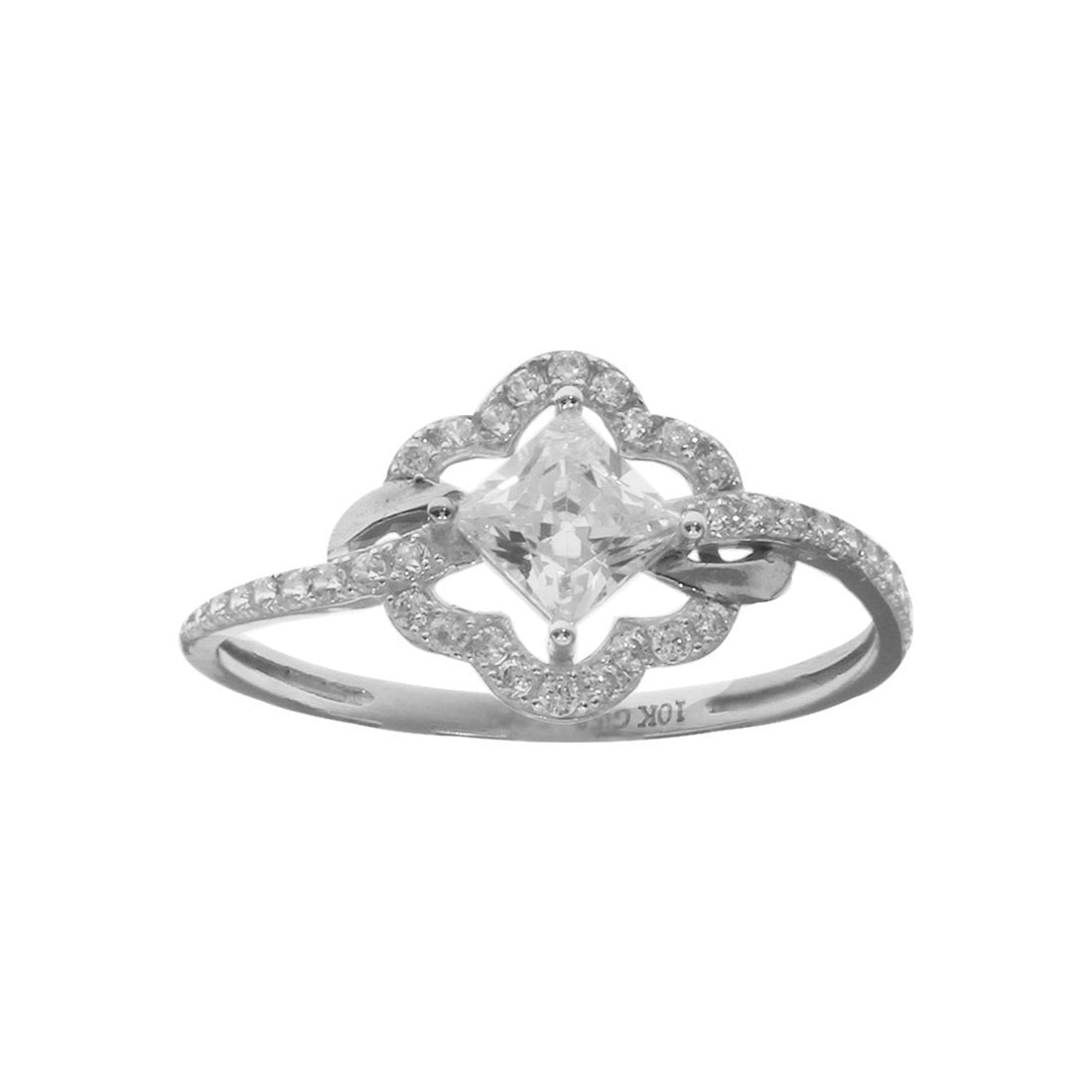 Anillo Oro Blanco 10k, con Zirconia Central Princess