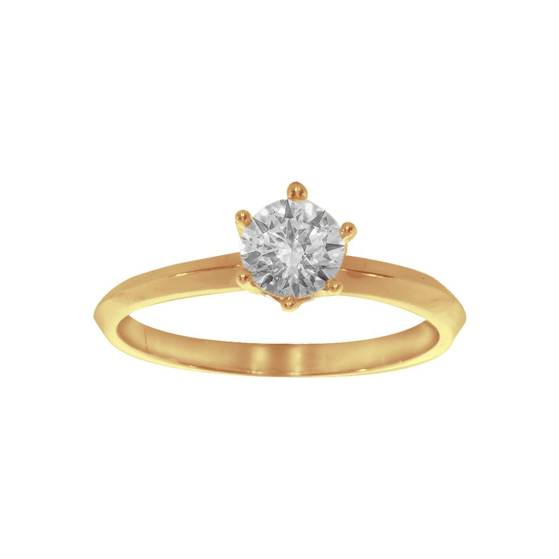 Anillo Solitario Oro 10k, Zirconia de 5 mm