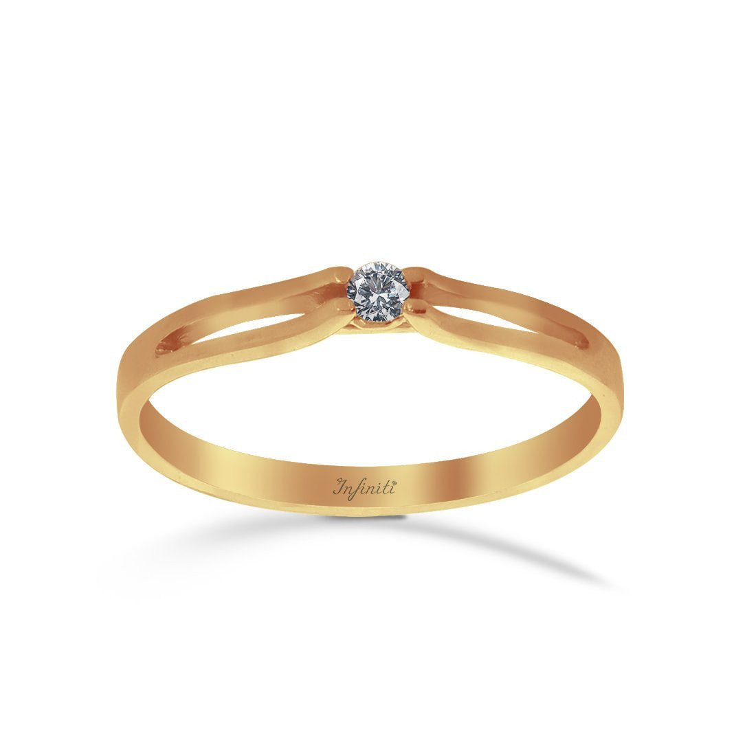 Anillo Oro Amarillo Solitario 10k, Zirconia 2.2 mm