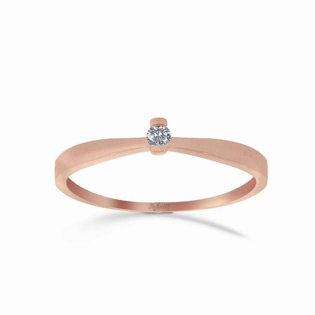 Anillo Solitario Oro Rosa 14k, Diamante Natural de 4 Puntos