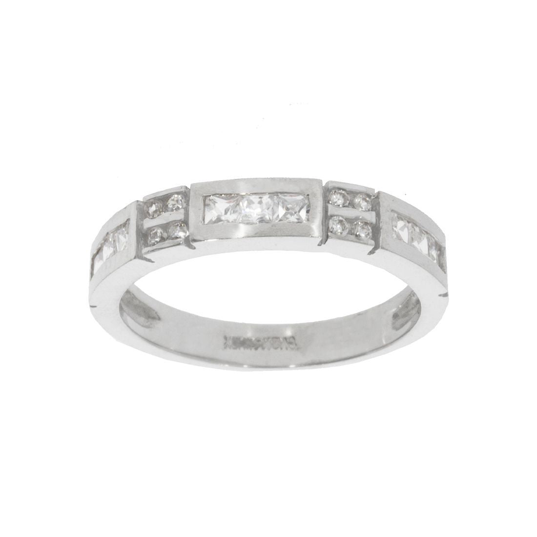 Churumbela Oro Blanco 14k, con Zirconias Princess