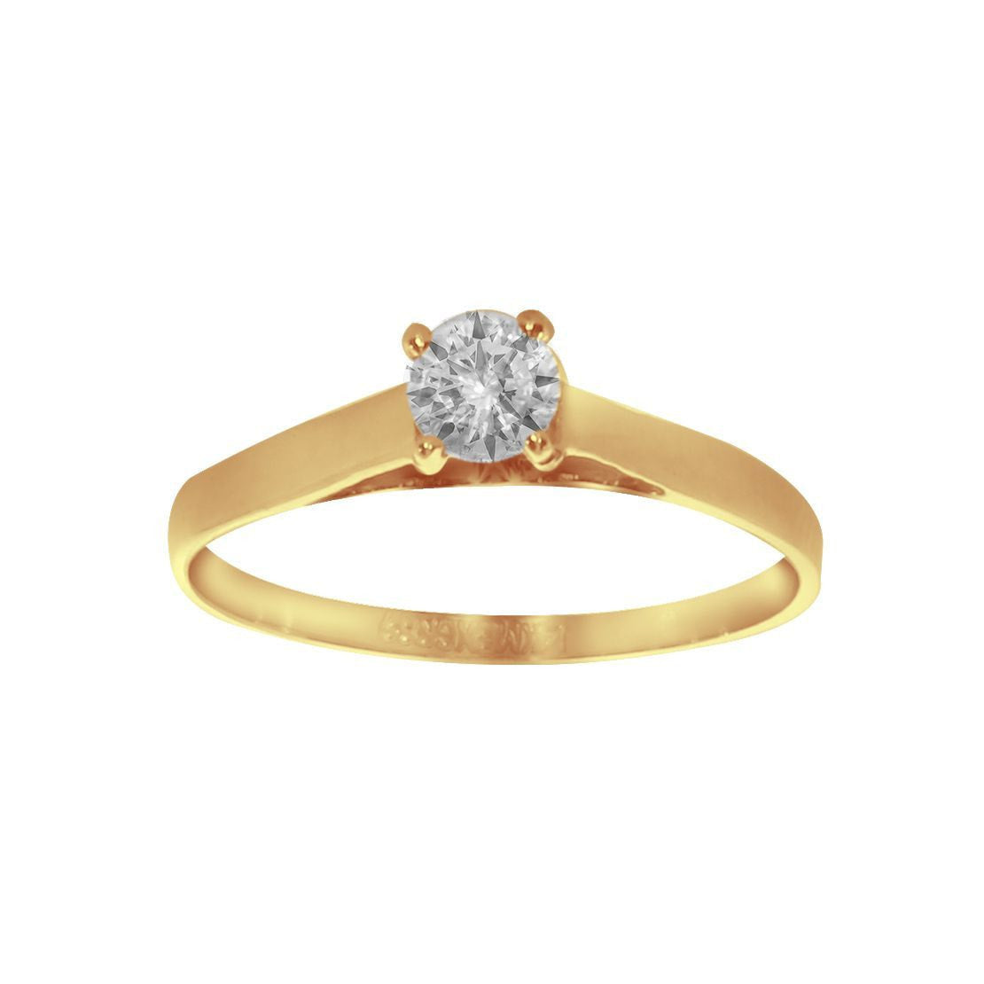 Anillo Solitario Oro 14k, Zirconia de 4 mm