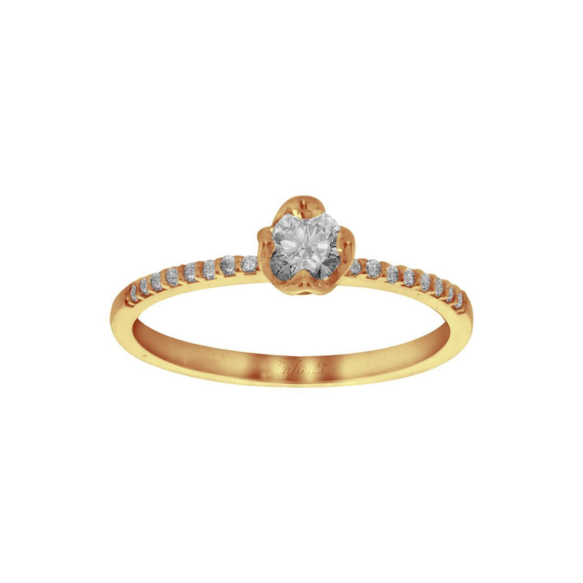 Anillo Oro 14k, Zirconia Central 4 mm y Laterales 0.50 mm