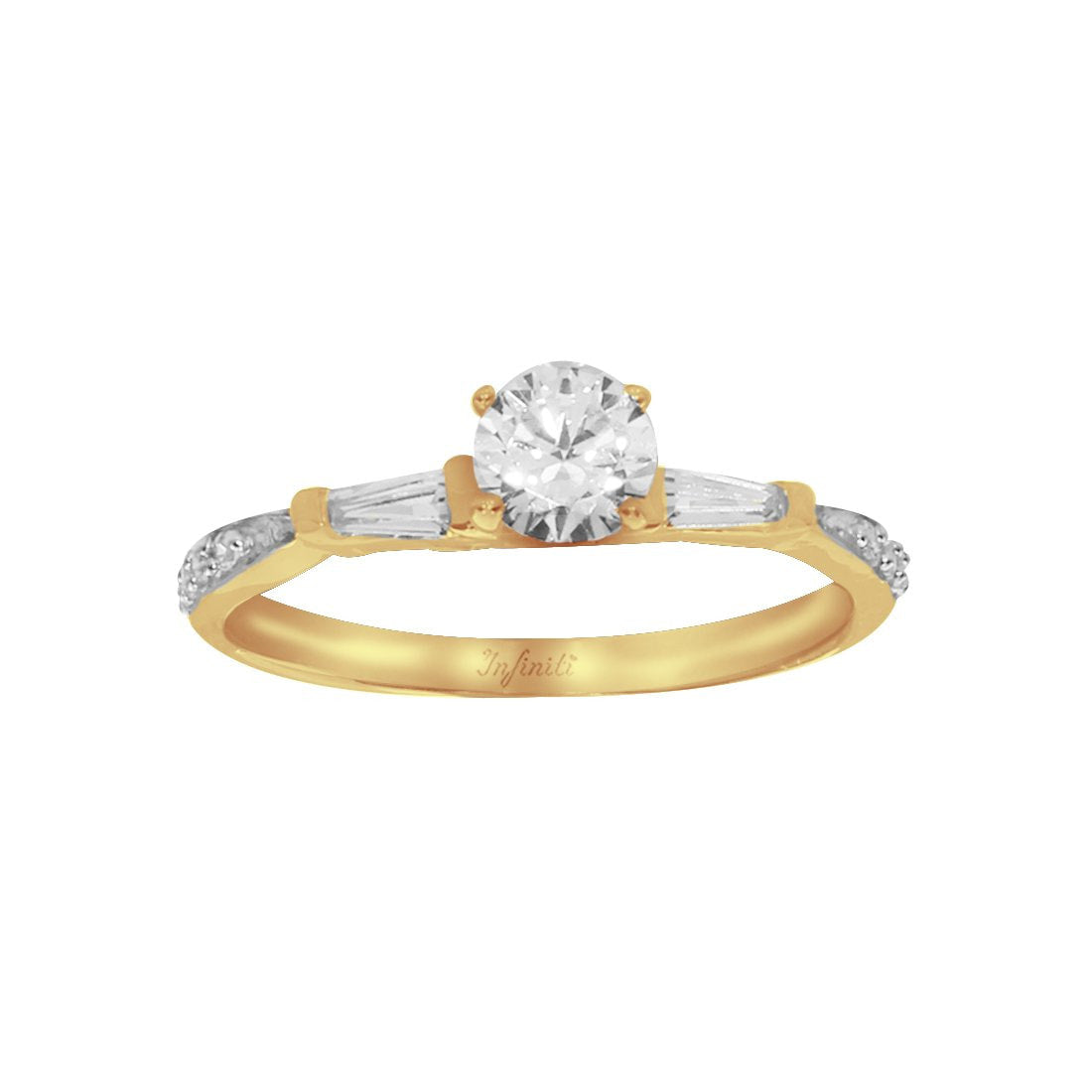 Anillo Oro 10k, con Zirconia Central de 5 mm, Baguette Laterales