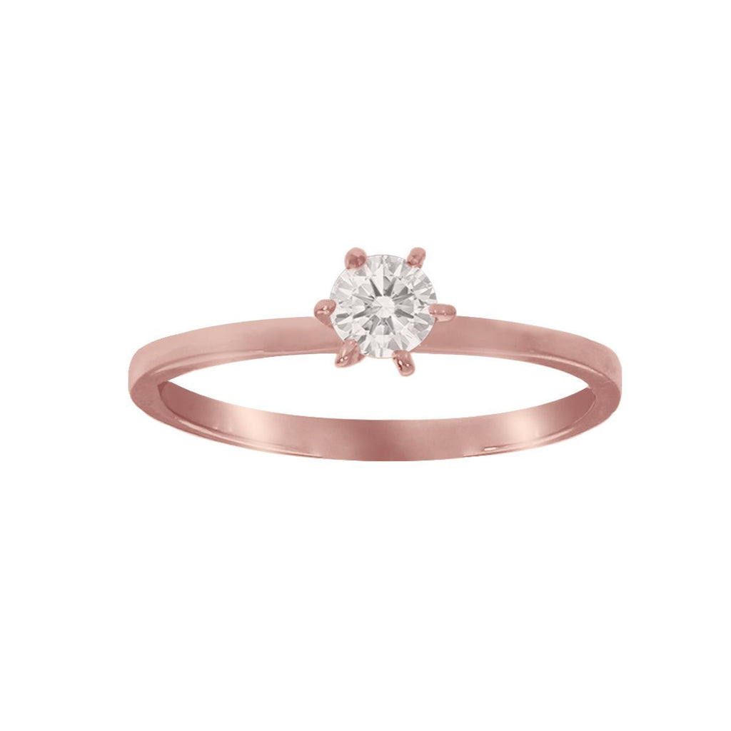 Anillo Oro Rosa 10k, con Zirconia Central de 3 mm