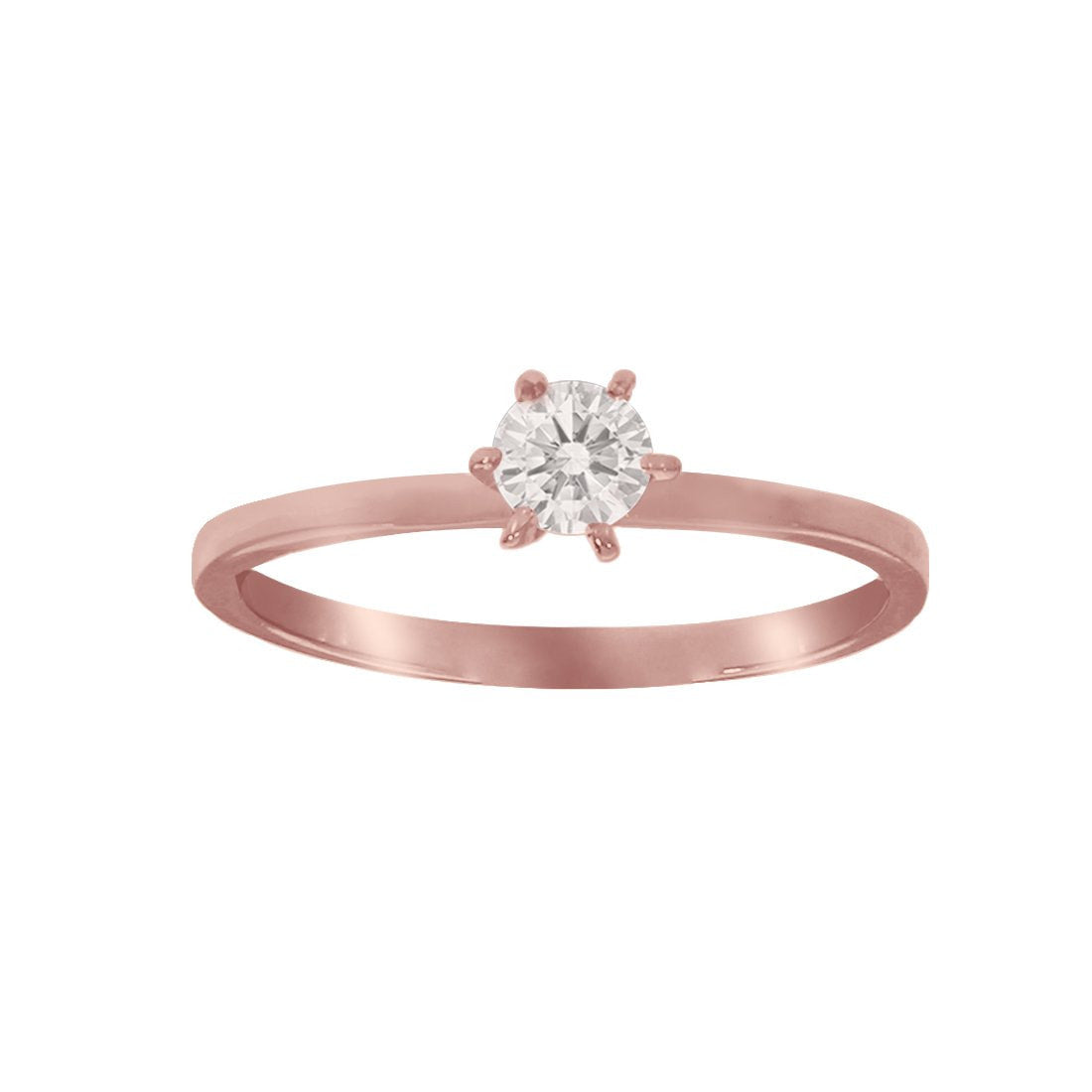 Anillo Oro Rosa 10k, con Zirconia Central de 4 mm