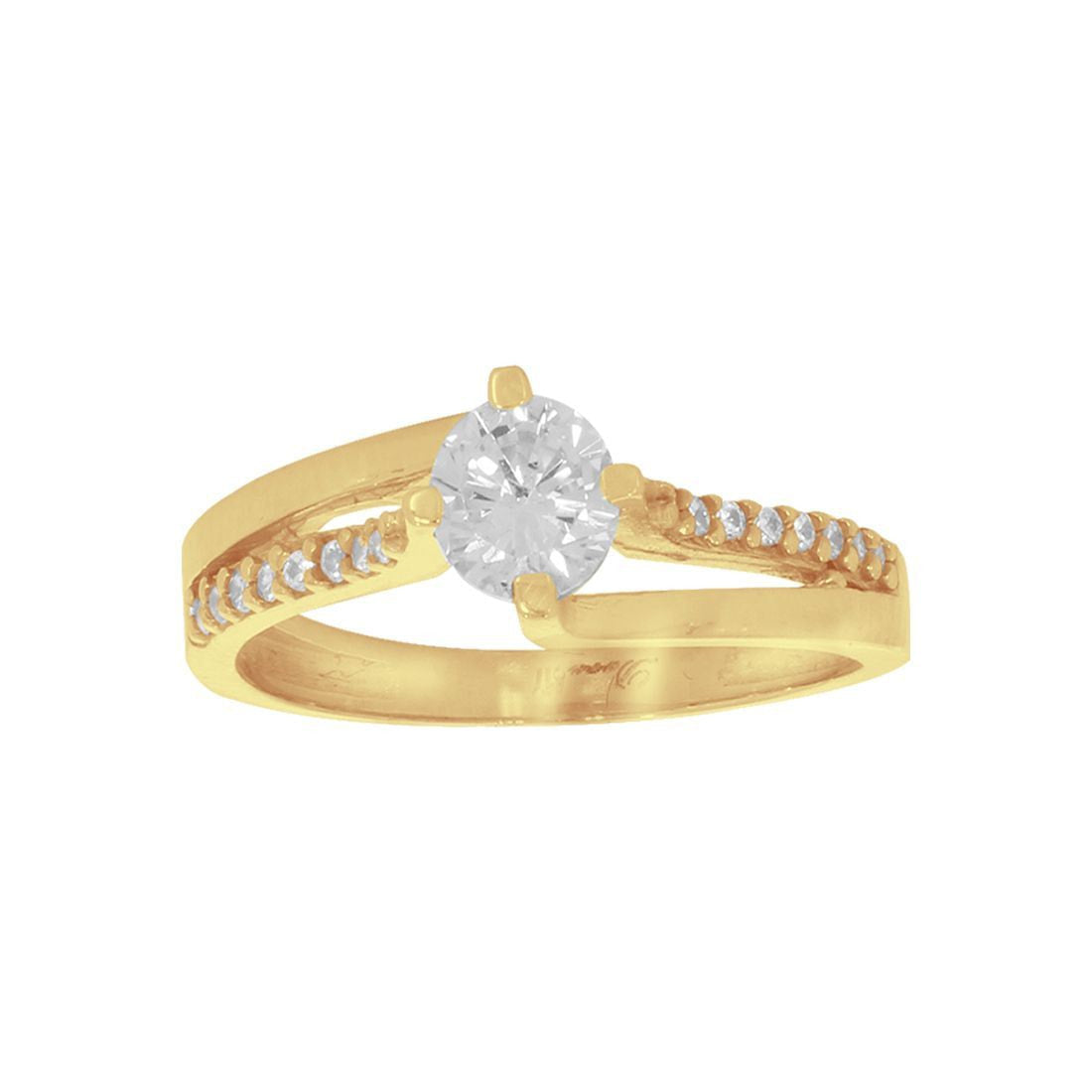 Anillo Oro 10k, con Zirconia Central de 5 mm, Laterales 1 mm