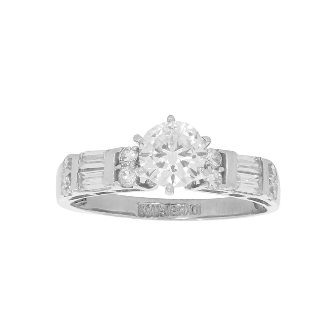 Anillo Oro Blanco 10k, con Zirconia Central de 6 mm, Laterales corte Baguette