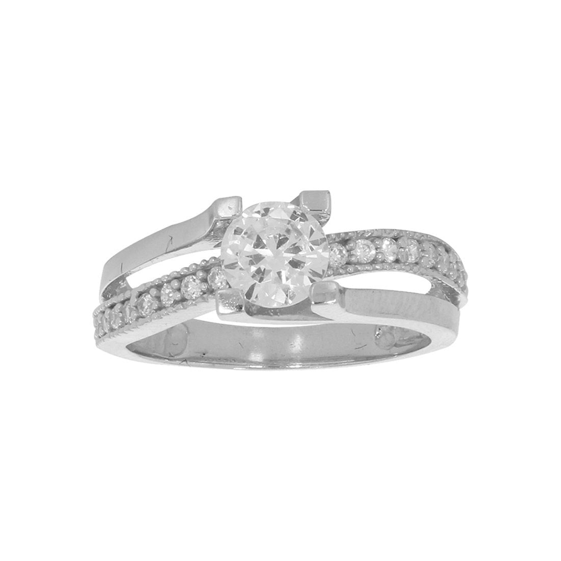 Anillo Oro Blanco 10k, con Zirconia Central de 6 mm, Laterales 1 mm