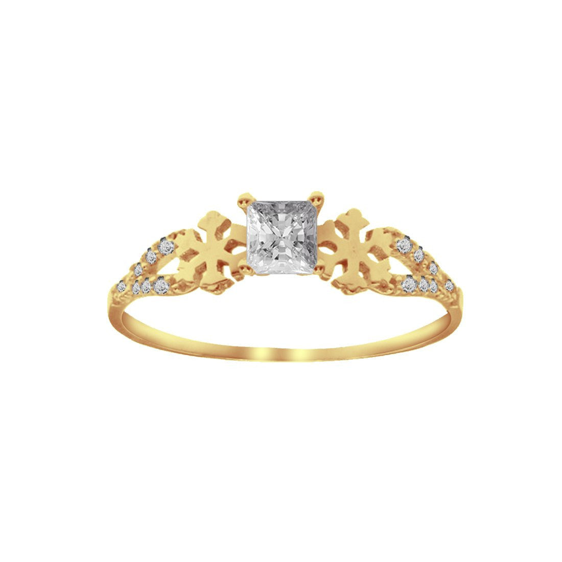 Anillo Oro Amarillo 10k, con Zirconia Central Princess