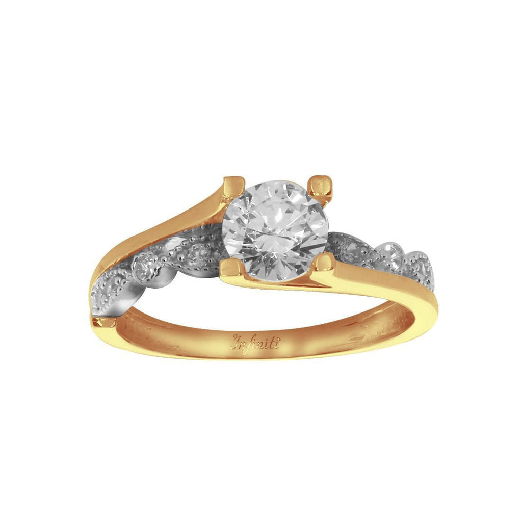 Anillo Oro 10k, con Zirconia Central de 6 mm, Laterales 1 mm