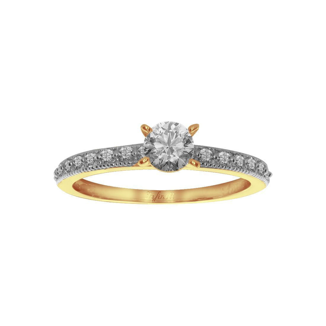 Anillo Oro 10k, Zirconia Central de 4 mm, Laterales 1 mm